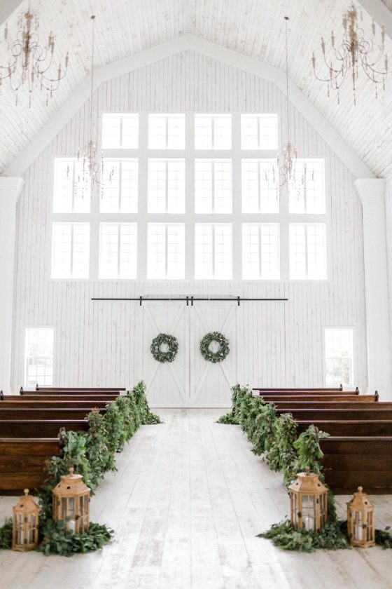 New Year's Eve Wedding with Chic Festive Greenery