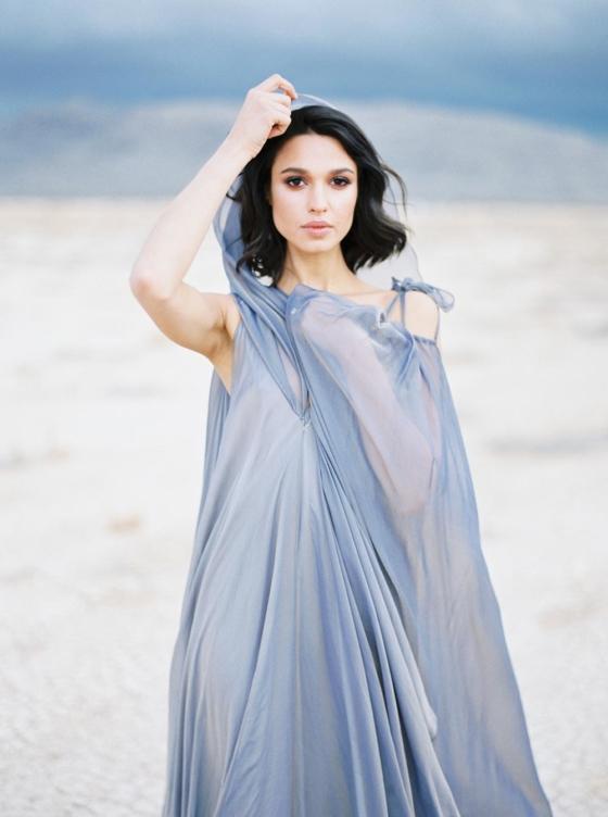 Desert Oasis Wedding Inspiration with a Blue Iridescent Gown