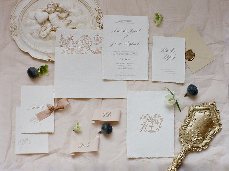 elegant wedding stationery - photo by Julie Michaelsen Photography http://ruffledblog.com/old-world-london-wedding-inspiration-with-delicate-details
