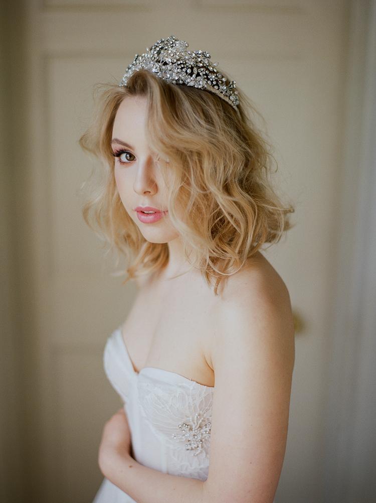 elegant wedding crowns - photo by Julie Michaelsen Photography http://ruffledblog.com/old-world-london-wedding-inspiration-with-delicate-details