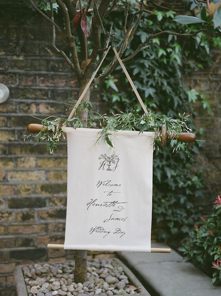 wedding signage - photo by Julie Michaelsen Photography https://ruffledblog.com/old-world-london-wedding-inspiration-with-delicate-details