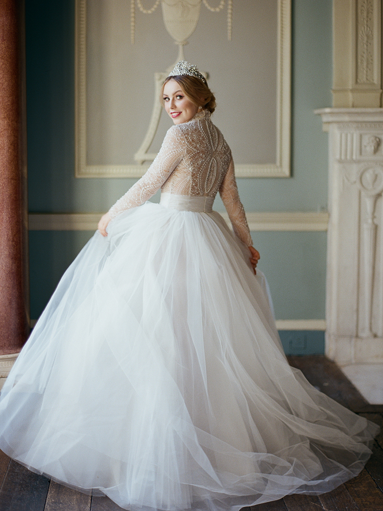 romantic wedding dresses - photo by Julie Michaelsen Photography http://ruffledblog.com/old-world-london-wedding-inspiration-with-delicate-details