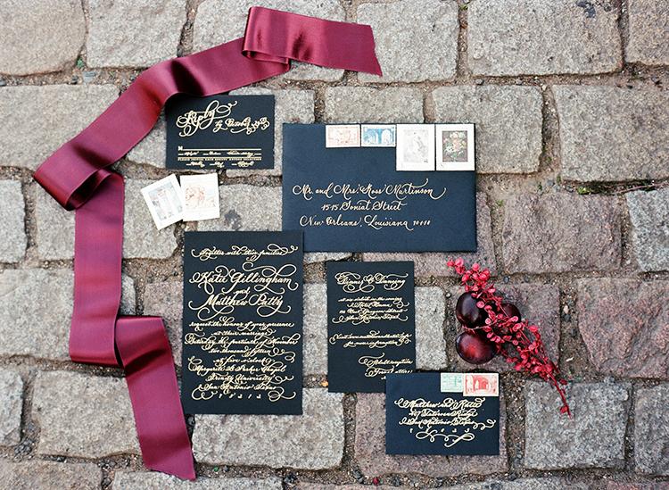 dramatic wedding invitations - photo by Arte de Vie http://ruffledblog.com/old-world-romance-wedding-inspiration-in-prague