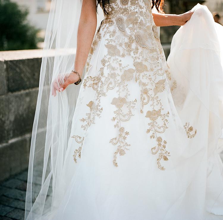 wedding dresses with gold details - photo by Arte de Vie http://ruffledblog.com/old-world-romance-wedding-inspiration-in-prague