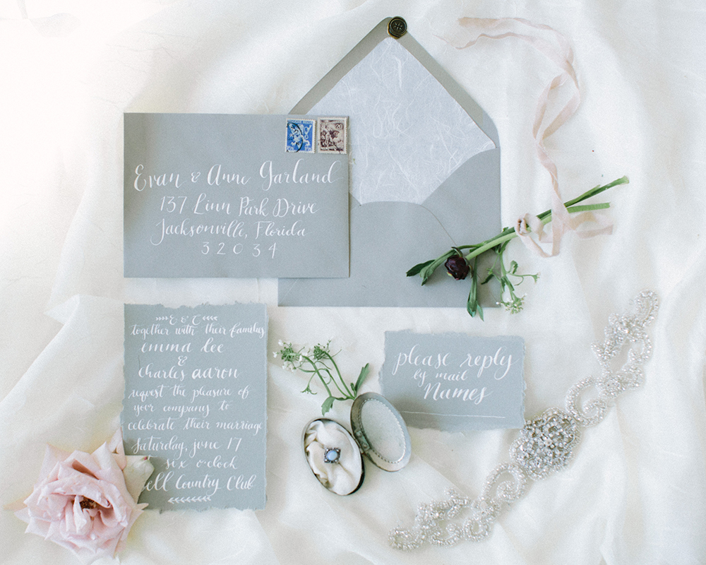 grey wedding invitations - photo by Erica J Photography https://ruffledblog.com/old-world-wedding-editorial-at-vizcaya-museum