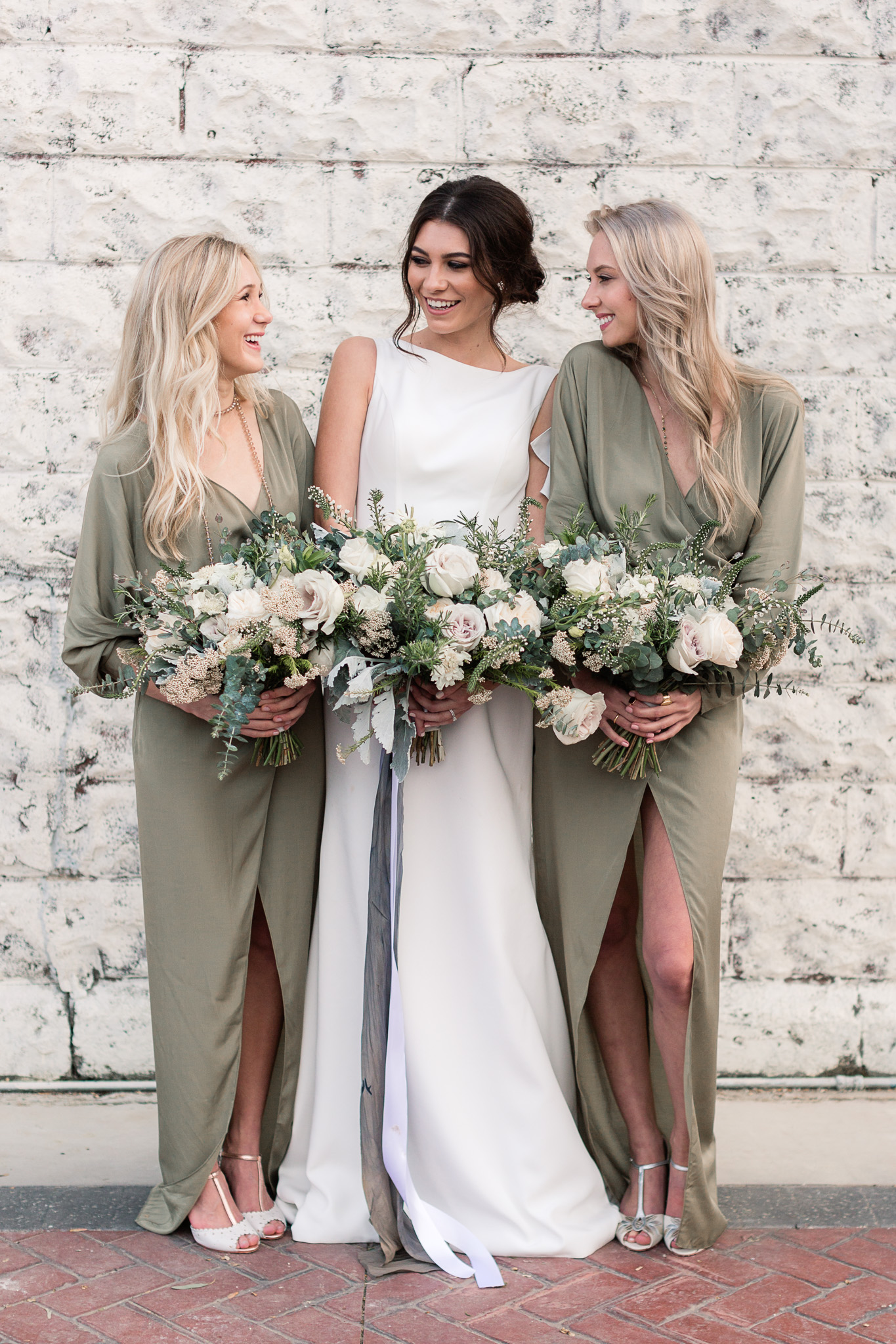 olive bridesmaid dresses - photo by B.Matthews Creative https://ruffledblog.com/organic-italian-inspired-wedding-ideas