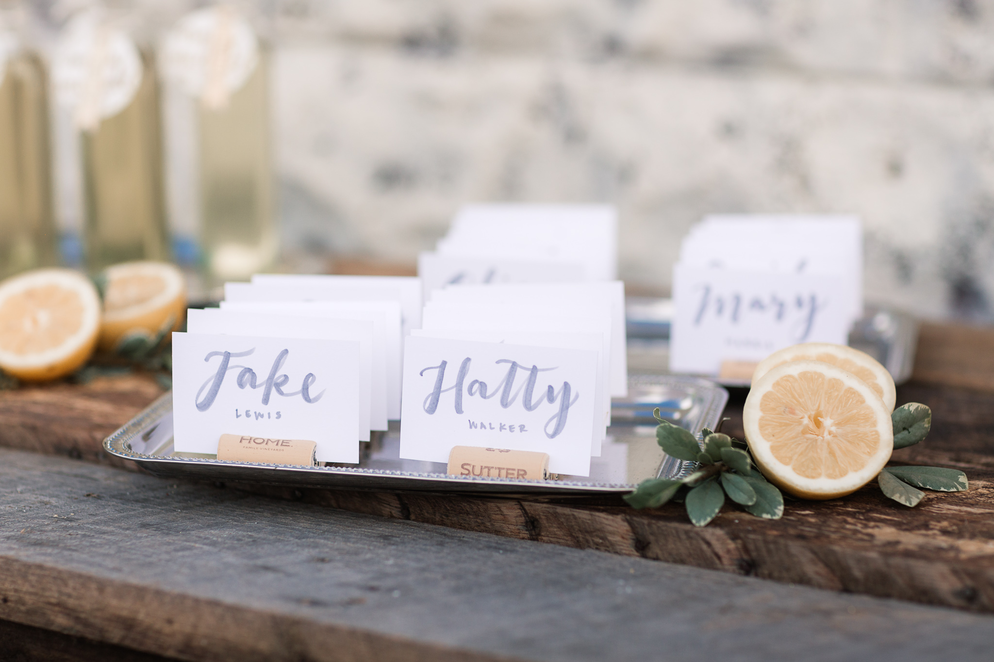 escort cards - photo by B.Matthews Creative https://ruffledblog.com/organic-italian-inspired-wedding-ideas