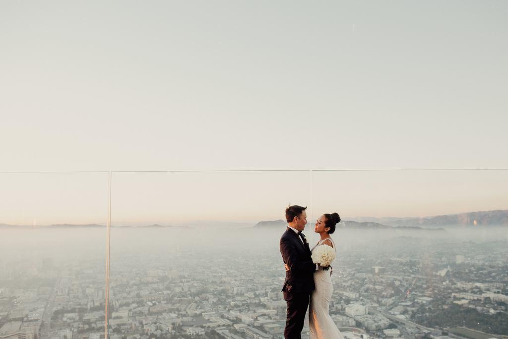 rooftop wedding venue in LA couple portraits during golden hour
