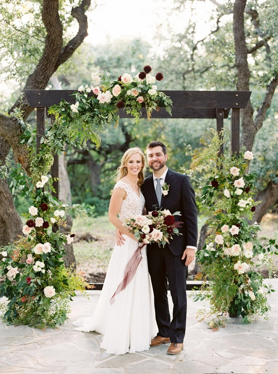 Outdoor Grove Wedding with Cascading Blooms in Cranberry and Pink
