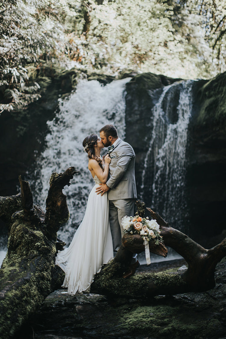 Pacific Northwest Wedding with a Secret Waterfall - photo by Rivkah Photography https://ruffledblog.com/pacific-northwest-wedding-with-a-secret-waterfall