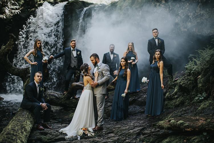 waterfall wedding portraits - photo by Rivkah Photography https://ruffledblog.com/pacific-northwest-wedding-with-a-secret-waterfall