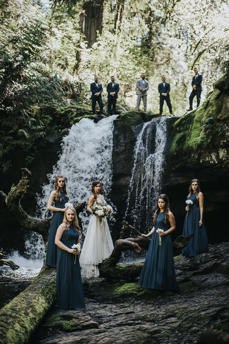 wedding party portraits - photo by Rivkah Photography https://ruffledblog.com/pacific-northwest-wedding-with-a-secret-waterfall