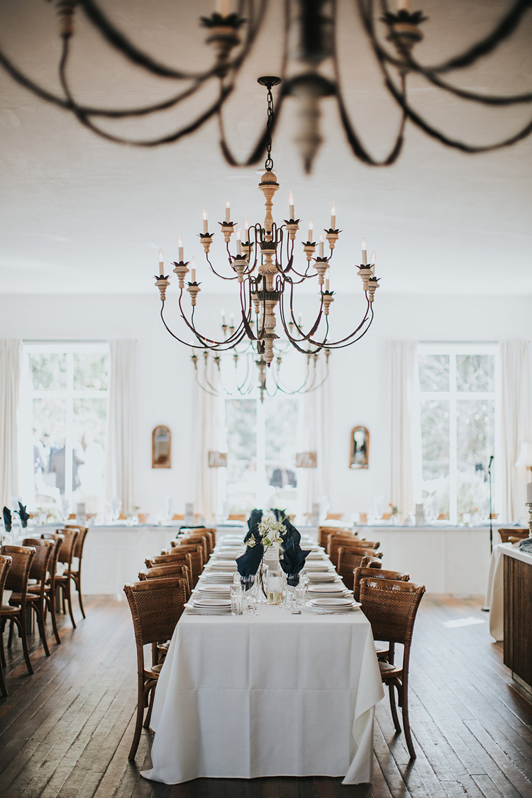 wedding tables - photo by Rivkah Photography http://ruffledblog.com/pacific-northwest-wedding-with-a-secret-waterfall