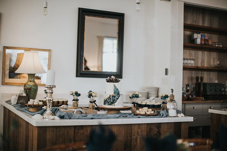 wedding dessert tables - photo by Rivkah Photography https://ruffledblog.com/pacific-northwest-wedding-with-a-secret-waterfall