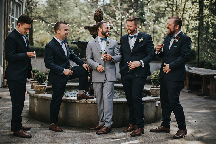 groom and groomsmen fashion - photo by Rivkah Photography https://ruffledblog.com/pacific-northwest-wedding-with-a-secret-waterfall