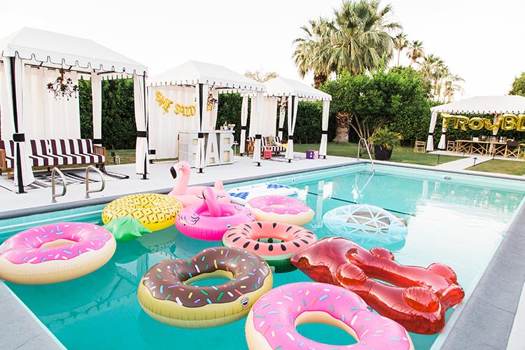 pool floats - photo by Ashley LaPrade Photography http://ruffledblog.com/palm-springs-bachelorette-party-weekend-getaway