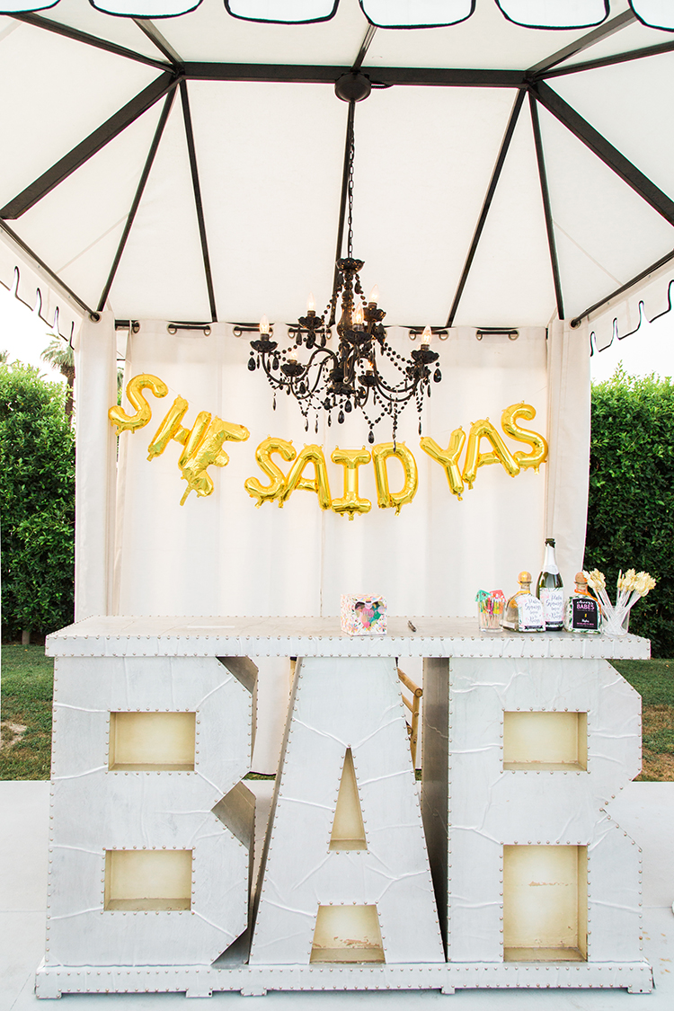 bridal shower pool party ideas - photo by Ashley LaPrade Photography http://ruffledblog.com/palm-springs-bachelorette-party-weekend-getaway