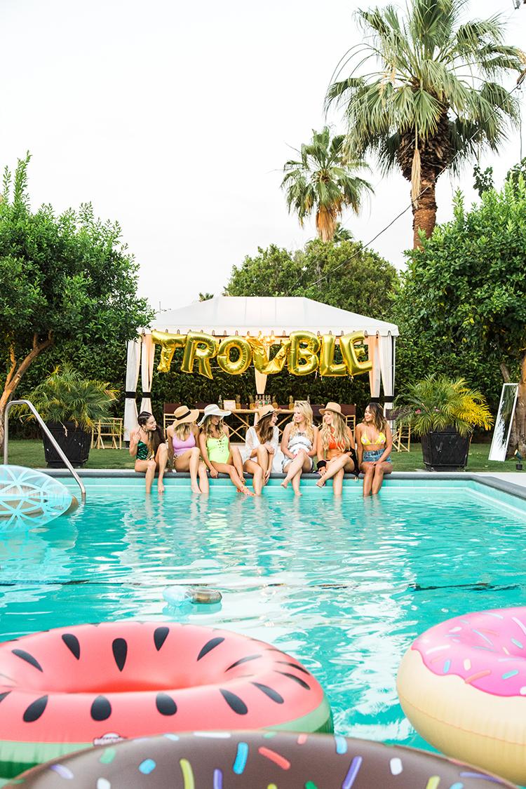 bachelorette pool parties - photo by Ashley LaPrade Photography http://ruffledblog.com/palm-springs-bachelorette-party-weekend-getaway