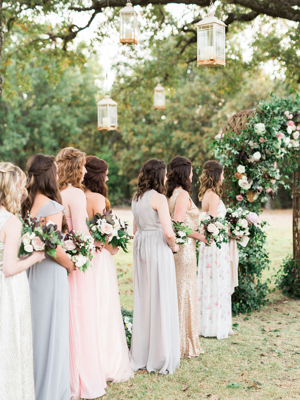 bridesmaids - photo by Elisabeth Carol Photography http://ruffledblog.com/picturesque-garden-wedding-at-white-sparrow-barn