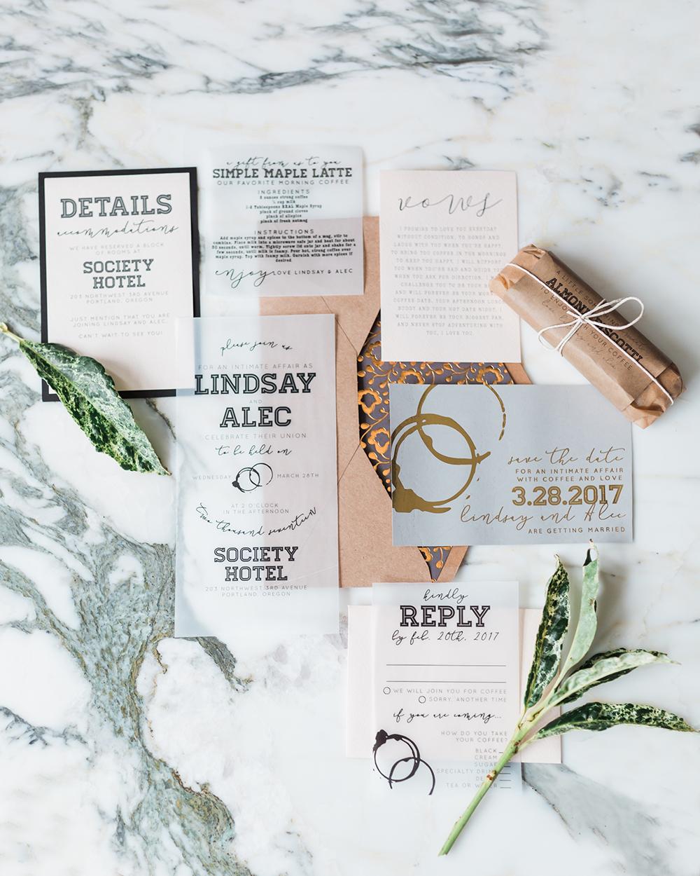 modern wedding invitations - photo by Gina Neal Photography https://ruffledblog.com/portland-coffee-lovers-elopement-inspiration