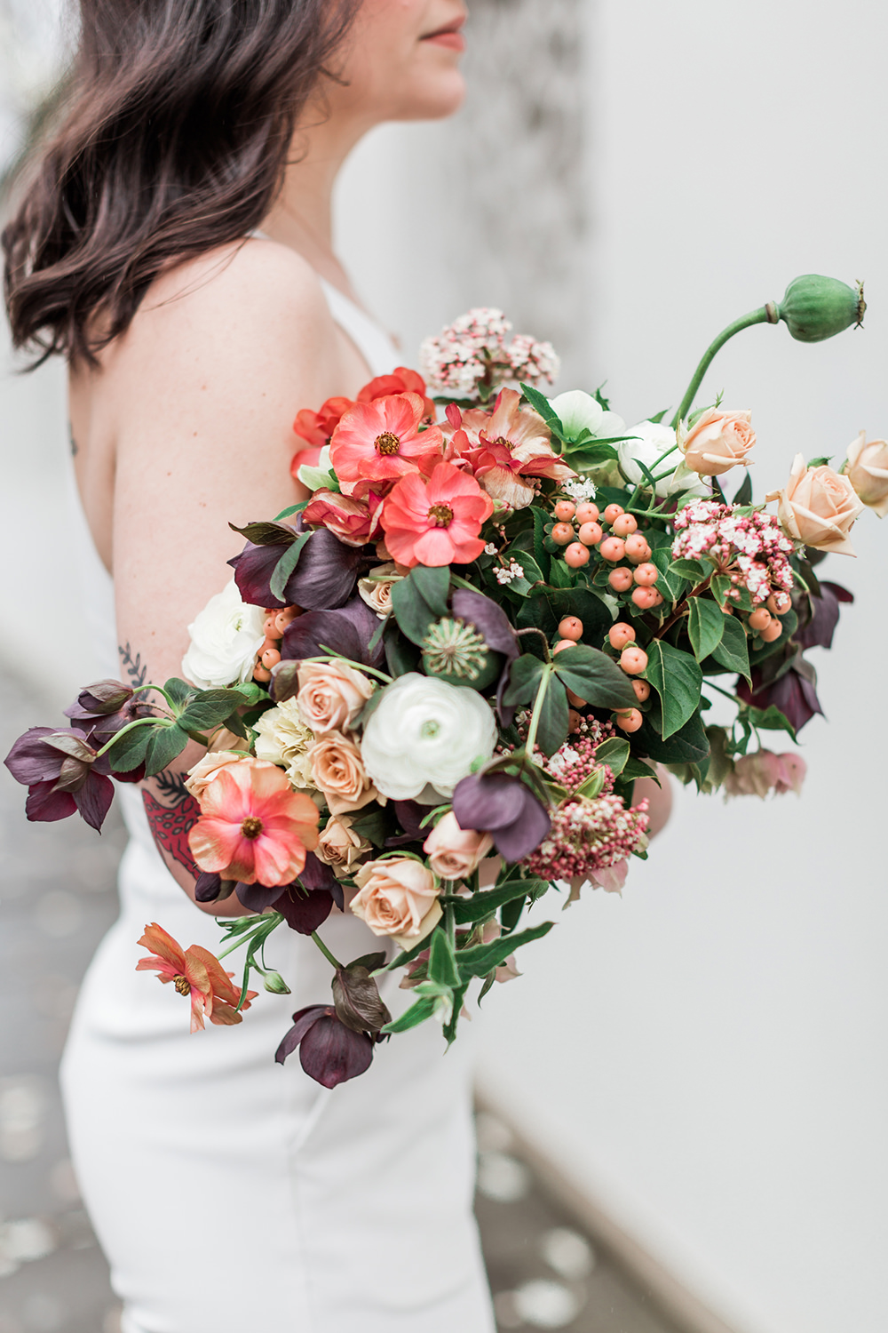 unique summer bouquets - photo by Gina Neal Photography https://ruffledblog.com/portland-coffee-lovers-elopement-inspiration