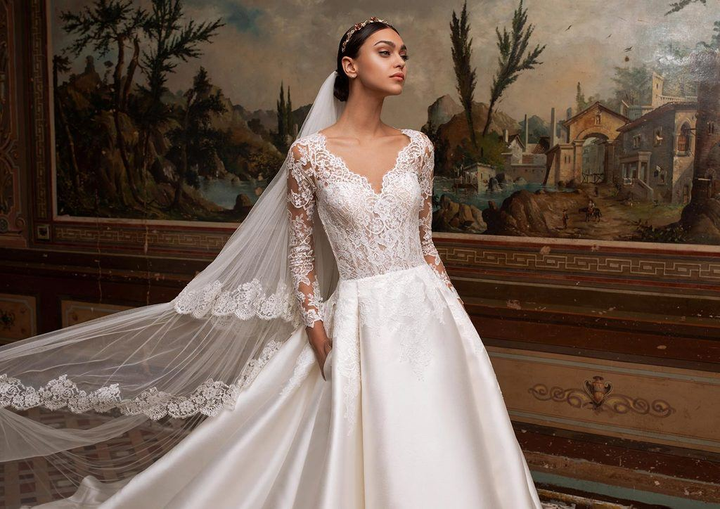 long sleeve princess wedding dress with princess skirt