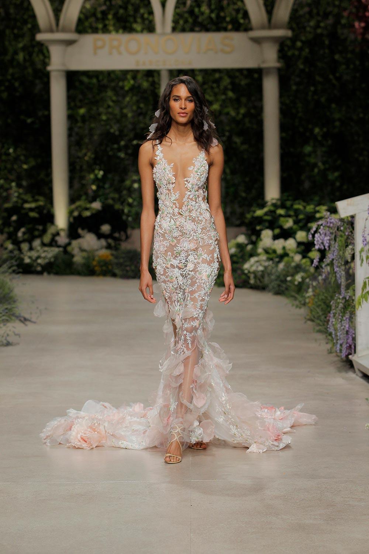 blush floral wedding dress with plunging neckline