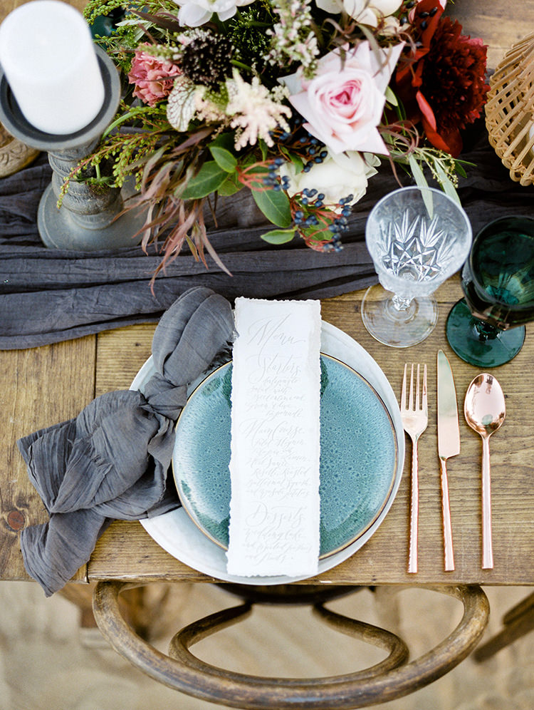 romantic wedding tables - photo by Saje Photography http://ruffledblog.com/real-sand-dunes-elopement-with-a-black-wedding-gown