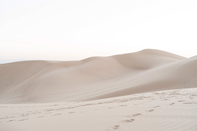 sand dune weddings - photo by Saje Photography http://ruffledblog.com/real-sand-dunes-elopement-with-a-black-wedding-gown