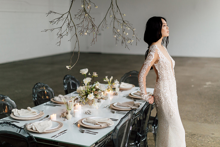 Refined Wedding Ideas with a Monochrome Palette - photo by Purple Tree Photography http://ruffledblog.com/refined-wedding-ideas-with-a-monochrome-palette