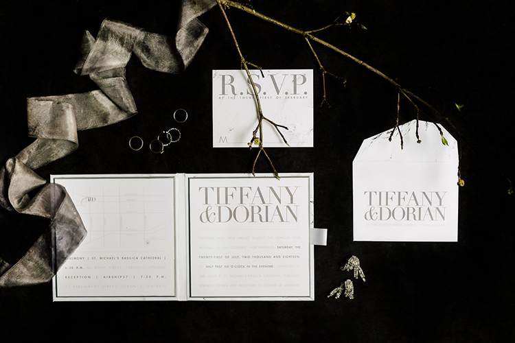 wedding stationery - photo by Purple Tree Photography http://ruffledblog.com/refined-wedding-ideas-with-a-monochrome-palette