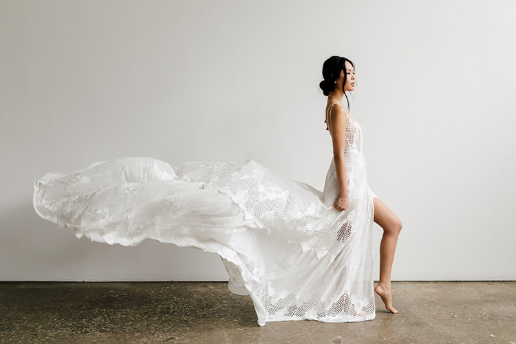 wedding dresses - photo by Purple Tree Photography http://ruffledblog.com/refined-wedding-ideas-with-a-monochrome-palette