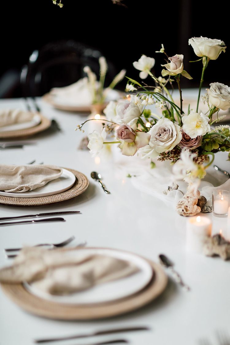 romantic tablescapes - photo by Purple Tree Photography http://ruffledblog.com/refined-wedding-ideas-with-a-monochrome-palette