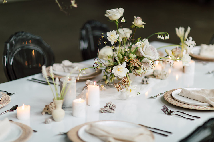 wedding tables - photo by Purple Tree Photography http://ruffledblog.com/refined-wedding-ideas-with-a-monochrome-palette