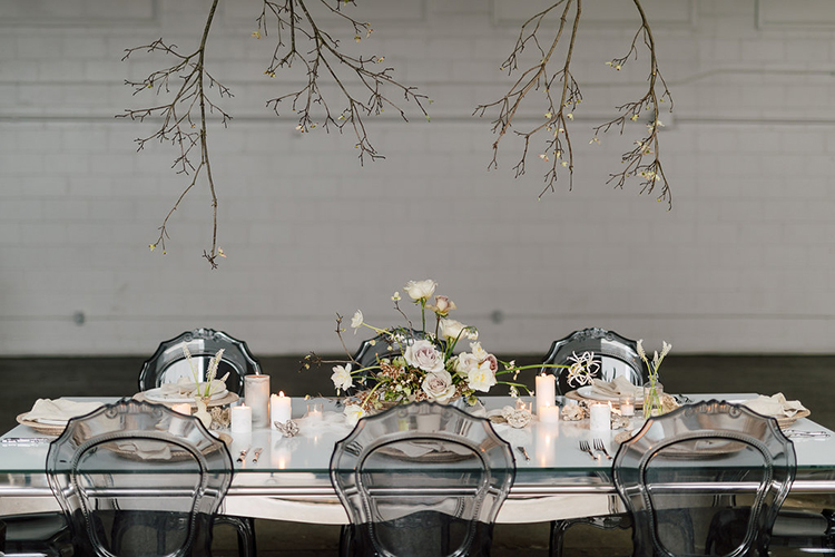modern wedding tables - photo by Purple Tree Photography http://ruffledblog.com/refined-wedding-ideas-with-a-monochrome-palette