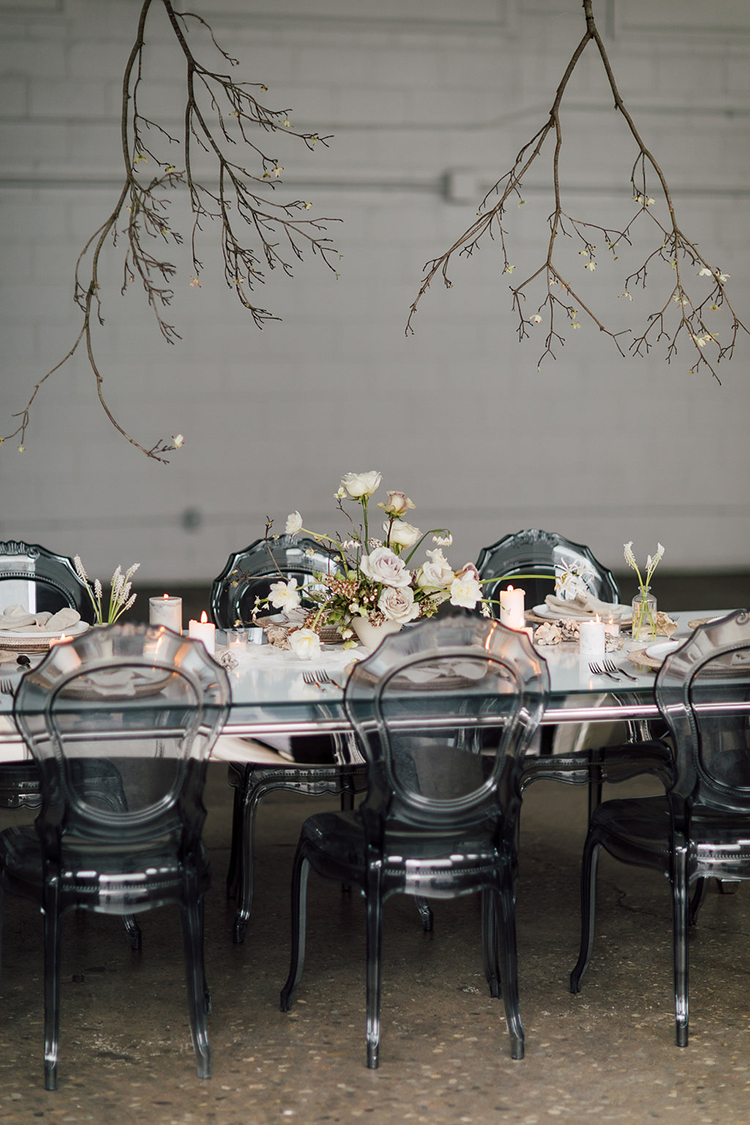 wedding reception tables - photo by Purple Tree Photography http://ruffledblog.com/refined-wedding-ideas-with-a-monochrome-palette