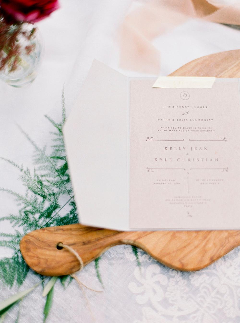 wedding stationery - photo by Amanda Lenhardt https://ruffledblog.com/relaxed-san-juan-capistrano-wedding-inspiration