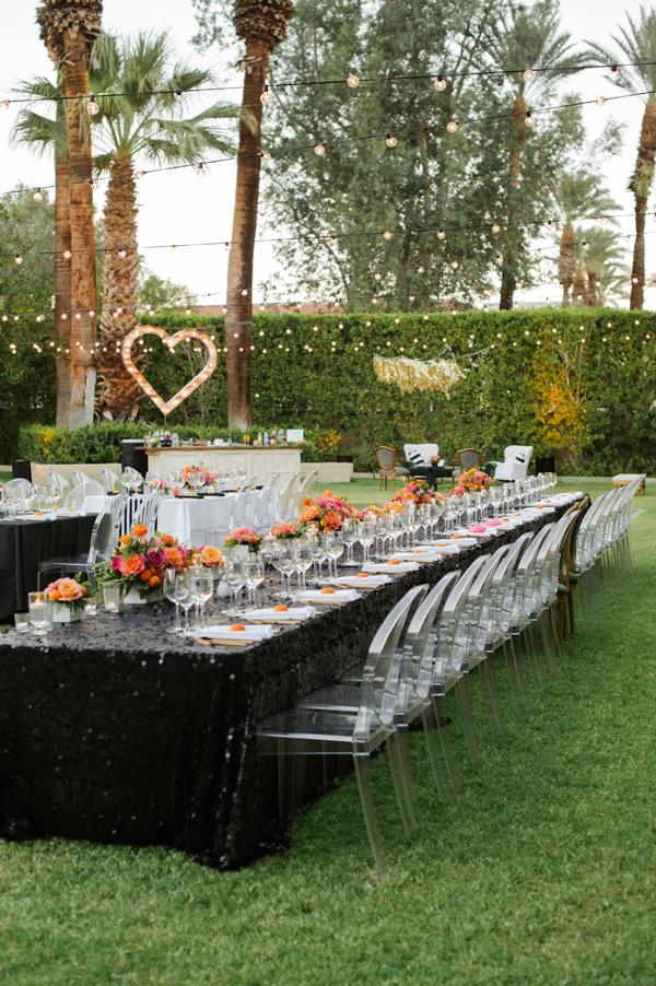 outdoor reception - photo by Krista Mason Photography https://ruffledblog.com/retro-modern-wedding-in-palm-springs
