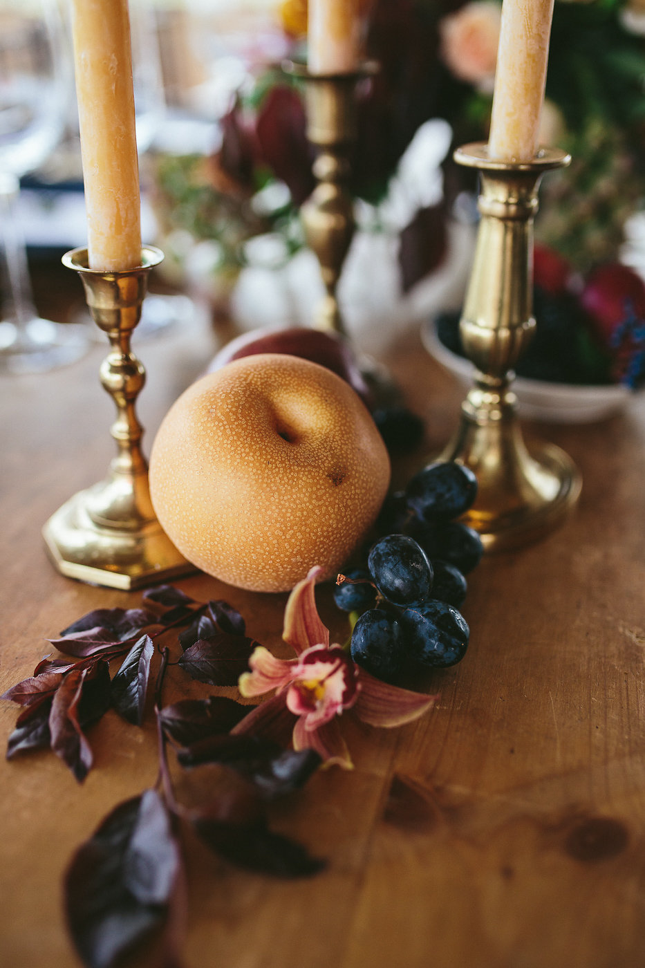 wedding decor - photo by Hannah Victoria Photography http://ruffledblog.com/rich-toned-industrial-wedding-inspiration