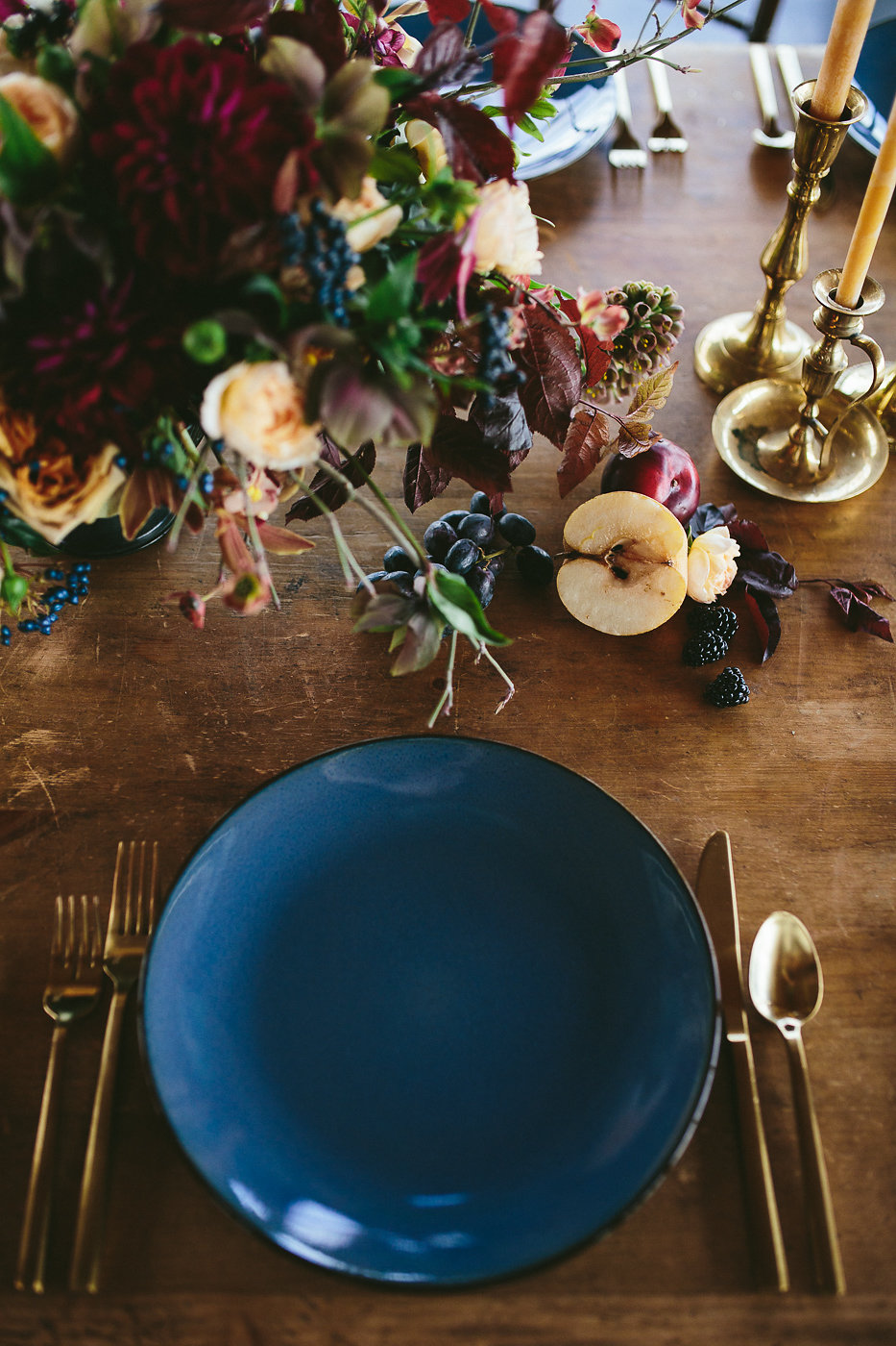 romantic table settings - photo by Hannah Victoria Photography http://ruffledblog.com/rich-toned-industrial-wedding-inspiration