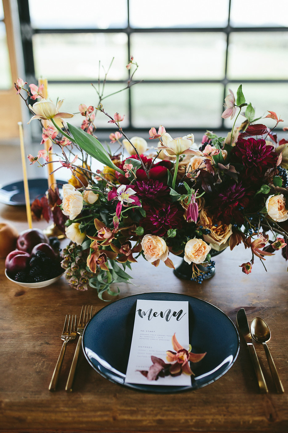 wedding table settings - photo by Hannah Victoria Photography https://ruffledblog.com/rich-toned-industrial-wedding-inspiration