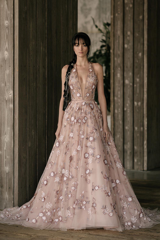 blush halter ball gown wedding dress