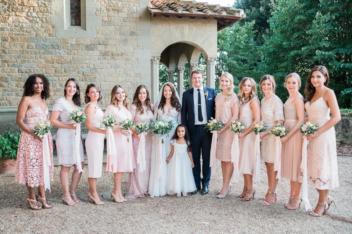 pink bridesmaid dresses - photo by Kylee Yee https://ruffledblog.com/romantic-al-fresco-wedding-in-tuscany