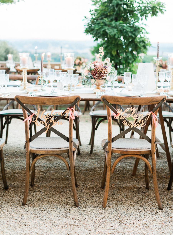 wedding chairs - photo by Kylee Yee https://ruffledblog.com/romantic-al-fresco-wedding-in-tuscany