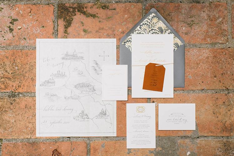 wedding invitations - photo by Lisa Poggi http://ruffledblog.com/romantic-black-tie-wedding-in-tuscany