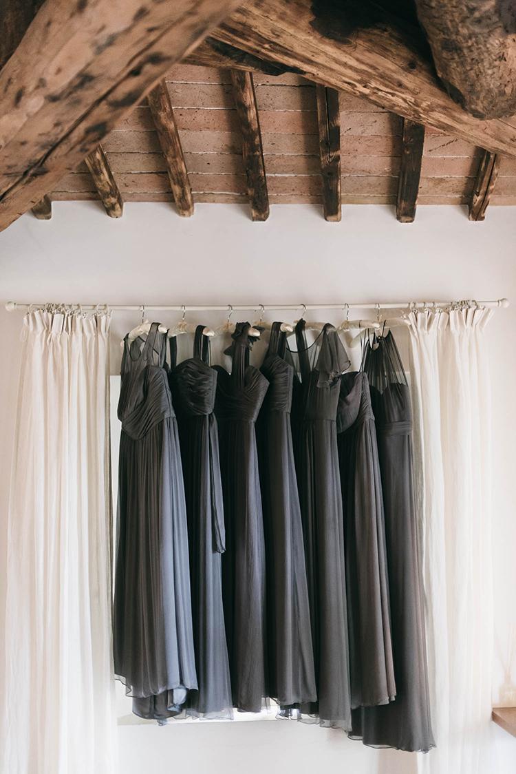 slate blue wedding dresses - photo by Lisa Poggi https://ruffledblog.com/romantic-black-tie-wedding-in-tuscany