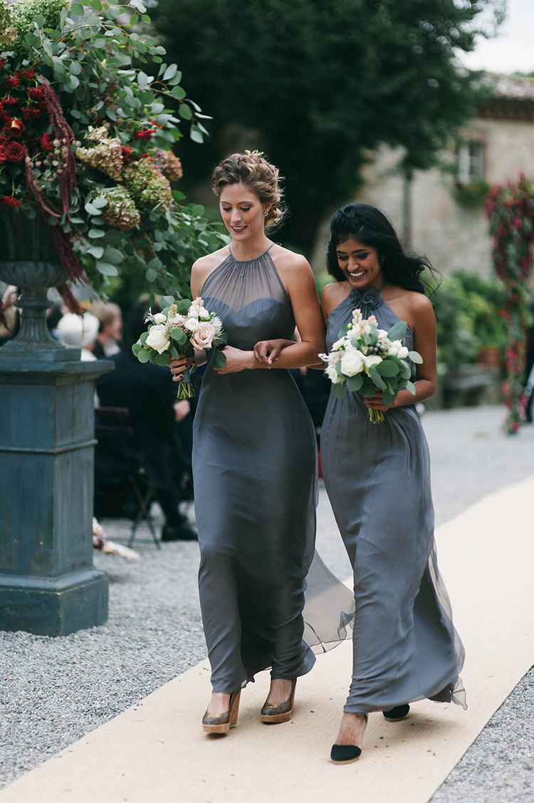 blue bridesmaid dresses - photo by Lisa Poggi http://ruffledblog.com/romantic-black-tie-wedding-in-tuscany