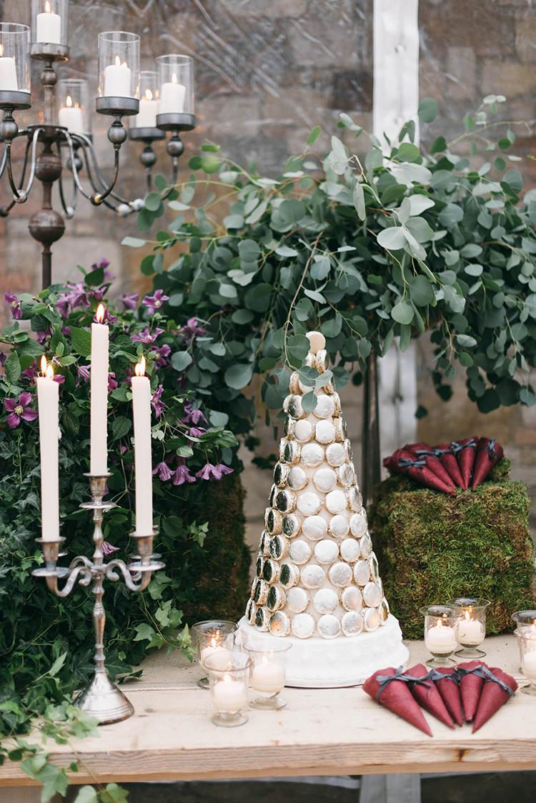 macaron wedding cake - photo by Lisa Poggi https://ruffledblog.com/romantic-black-tie-wedding-in-tuscany