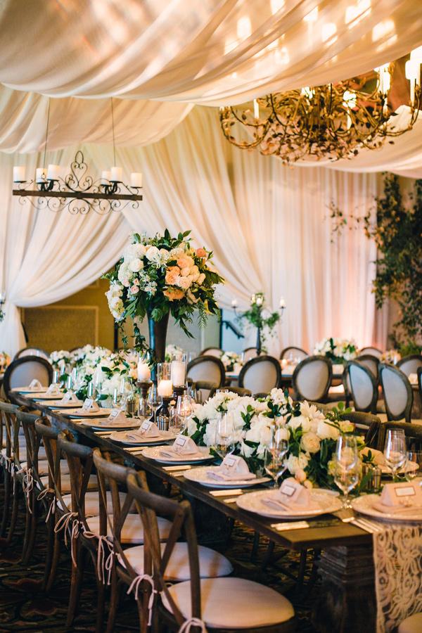 elegant reception - photo by MiBelle Photography https://ruffledblog.com/romantic-blush-santa-barbara-wedding