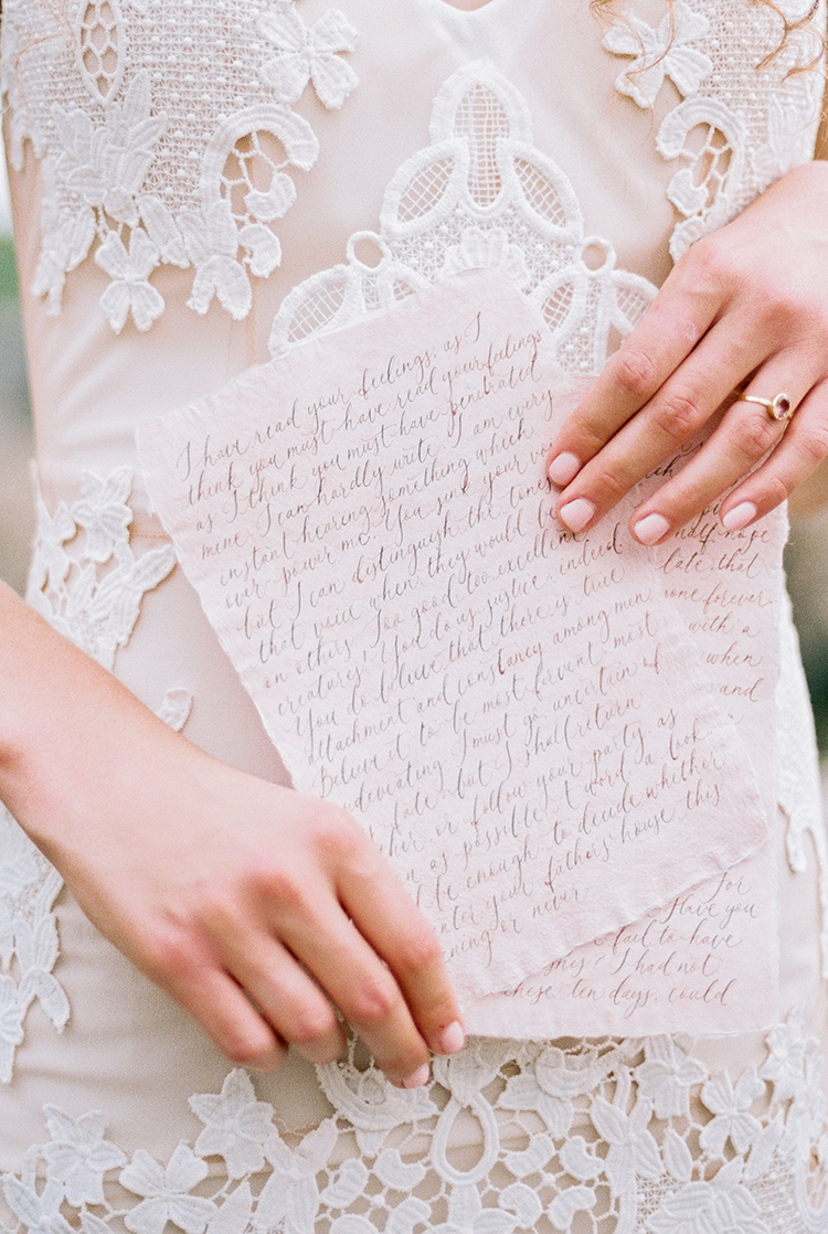 handwritten wedding vows - photo by Photographs by Czar Goss http://ruffledblog.com/romantic-bridal-inspiration-in-great-falls-virginia